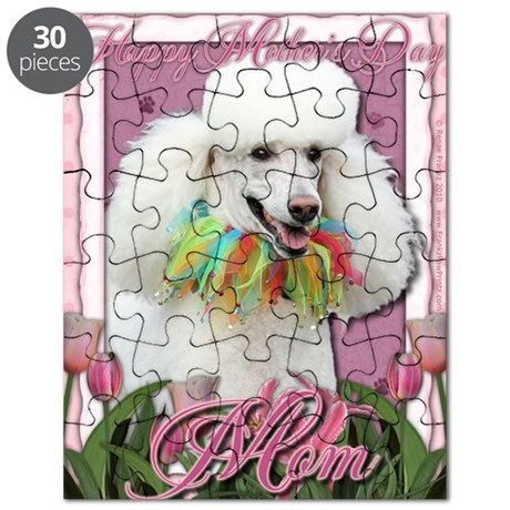Mothers_Day_Pink_Tulips_Poodle_White_Mom Puzzle