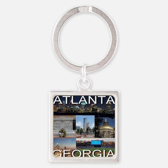 ATLANTAGEORGIA_TAL_COLLAGE_BLACK Square Keychain