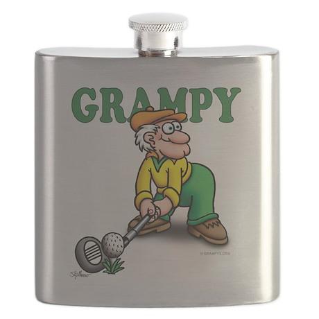 Grampy golfer Poised GRAMPY HEADING 2 Flask
