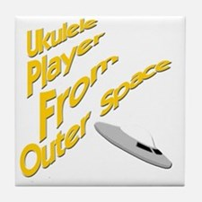 Ukulele Player From Outer Space Tile Coaster