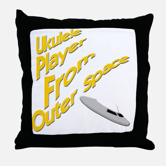 Ukulele Player From Outer Space Throw Pillow