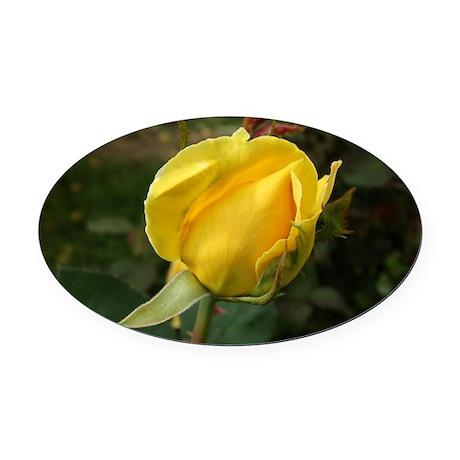 YellowRoseBudOvalTravelMug Oval Car Magnet