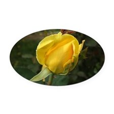 YellowRoseBudOvalTravelMug Oval Car Magnet