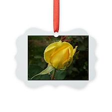 YellowRoseBudOvalTravelMug Ornament