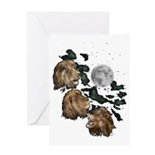 Three Lion Moon by Hever Greeting Card