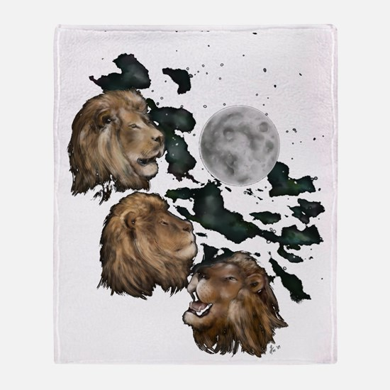 Three Lion Moon by Hever Throw Blanket
