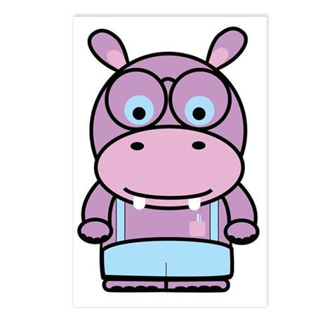 Hippo Nerd Postcards (Package of 8)