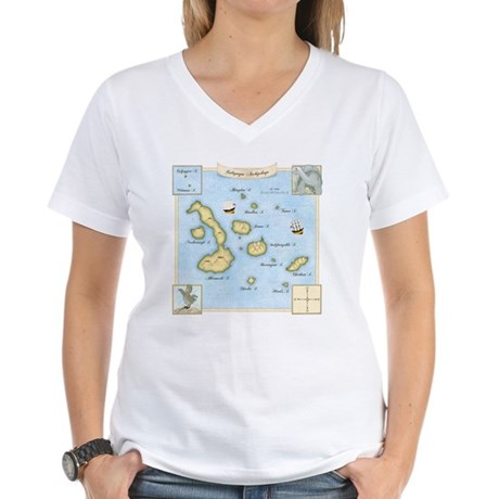 Galapagos Map square Women's V-Neck T-Shirt