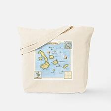 Galapagos Map square Tote Bag