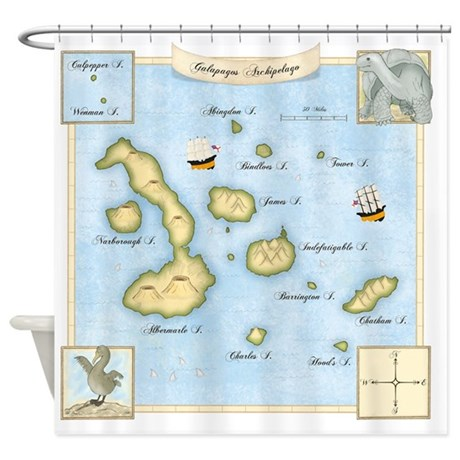 Galapagos Map Square Shower Curtain By Admin Cp11224284