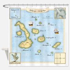 Galapagos Map square Shower Curtain