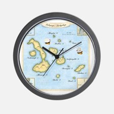 Galapagos Map square Wall Clock
