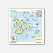 "Galapagos Map square Square Sticker 3"" x 3"""