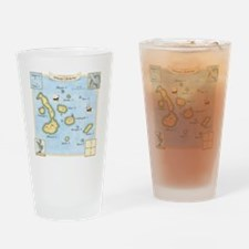 Galapagos Map square Drinking Glass