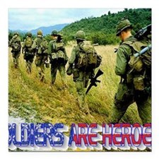 "vietnam-soldiers-4 Square Car Magnet 3"" x 3"""