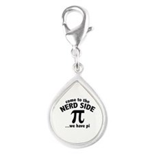 Come To The Nerd Side Silver Teardrop Charm