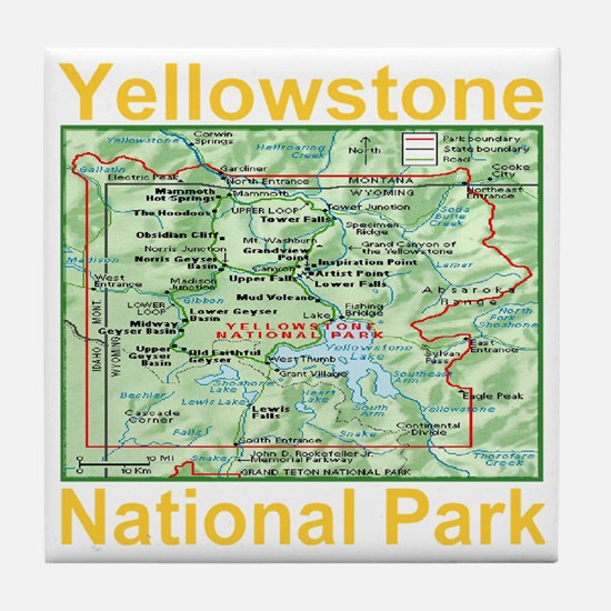 yellowstone_np_map_transparent Tile Coaster