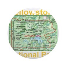 yellowstone_np_map_transparent Round Ornament