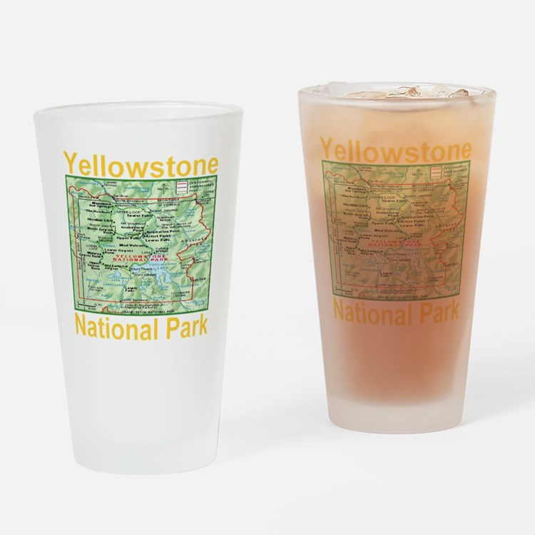 yellowstone_np_map_transparent Drinking Glass