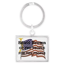 AABROWNflag_and_pole_3 Landscape Keychain
