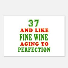 Funny 37 And Like Fine Wine Birthday Postcards (Pa