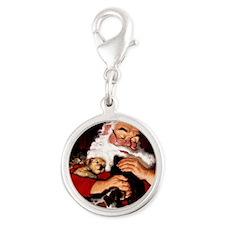 santa-claus-napping-christmas- Silver Round Charm