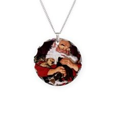 santa-claus-napping-christma Necklace Circle Charm