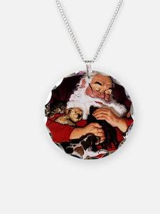 santa-claus-napping-christma Necklace Circle Charm