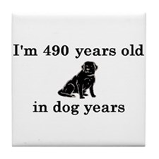 70 birthday dog years lab 2 Tile Coaster