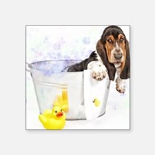 "Bubble Bath Basset Print Square Sticker 3"" x 3"""