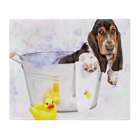 Bubble Bath Basset Print Throw Blanket