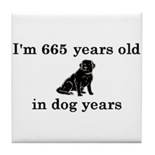 95 birthday dog years lab 2 Tile Coaster
