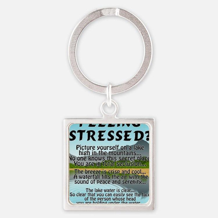 stressed-lake Square Keychain