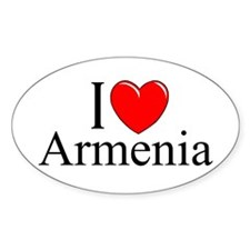 """I Love Armenia"" Oval Decal"