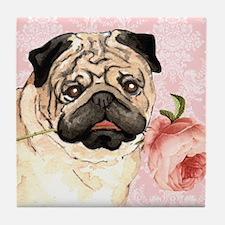 Pug Rose Tile Coaster