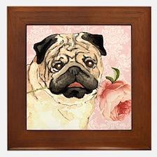 Pug Rose Framed Tile