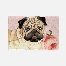Pug Rose Rectangle Magnet