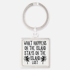 2-what happens on the island Square Keychain
