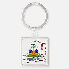 2-Haiti-SHIRT Square Keychain