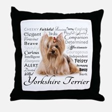 Yorkie Traits Throw Pillow