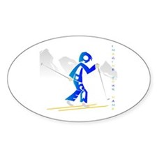 Andrew skier in blue Oval Decal