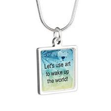 WaketheWorld1 Silver Square Necklace