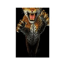 Leaping Leopard large Poster Rectangle Magnet