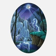 Unicorns in the Moonlight large post Oval Ornament
