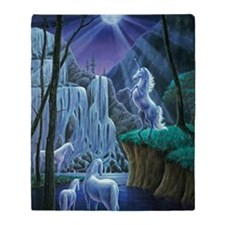 Unicorns in the Moonlight large post Throw Blanket