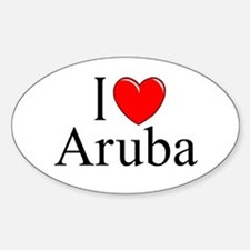 """I Love Aruba"" Oval Decal"