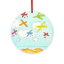 busy aeroplanes 10x10 Round Ornament