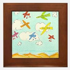 busy aeroplanes 10x10 Framed Tile