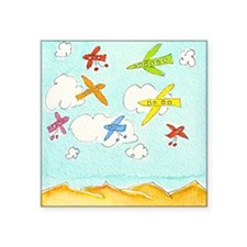 "busy aeroplanes 10x10 Square Sticker 3"" x 3"""