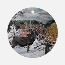 deer oil painting, 5306 Round Ornament